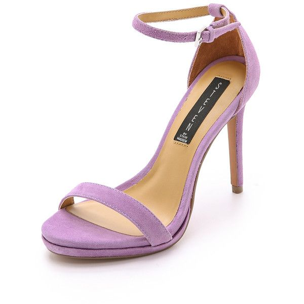 Steven Rykie Suede Single Band Sandals ($55) ❤ liked on Polyvore featuring shoes, sandals, heels, purple, lavender, purple suede shoes, suede sandals, lavender shoes, suede leather shoes and suede shoes