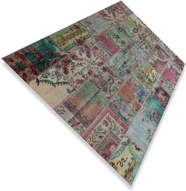 Multicolour Vintage patchwork vloerkleed / tapijt / karpet . - Serozatapijten.nl