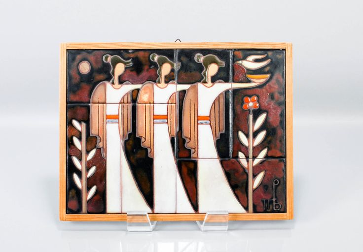 Vintage Art Tile Panos Valsamakis Greek Artist - Mid Century Wall Hanging Greece by ThePapers on Etsy
