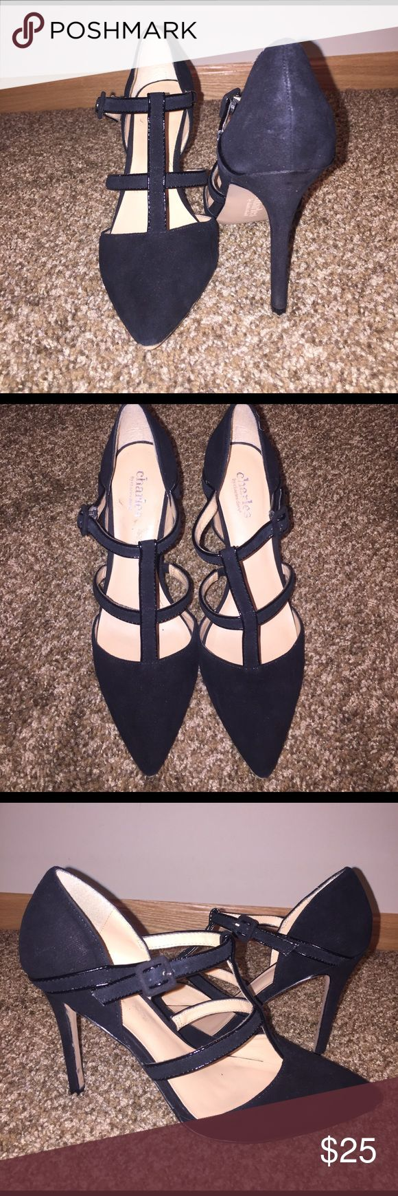 Charles David black suede heels Worn once, no scuffing. Very comfy for this type of heel! Charles David Shoes Heels