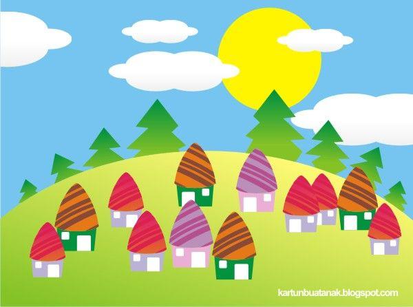Gambar Mewarnai Rumah Jamur Pemandangan Kartun Gambar