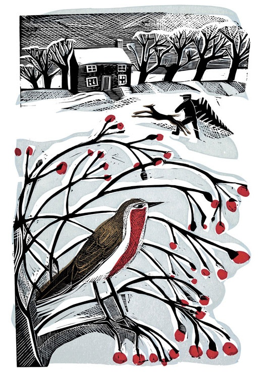 [Bringing back the Tree by Angela Harding  Silkscreen & Linocut]. Christmas cards?
