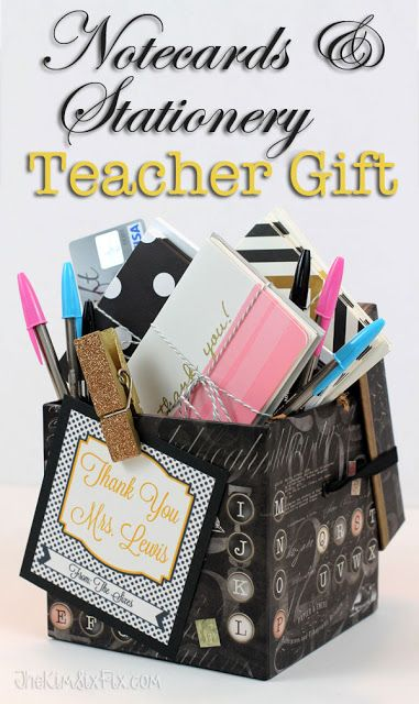 Create a gift basket full of personalized stationary and thank you cards for a teacher. They always need to send notes and this a practical and personal teacher appreciation gift idea.