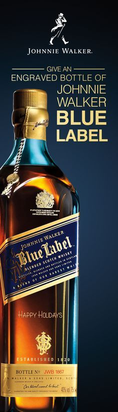 Whether friend or family member, show them you care with a bottle of Johnnie Walker Blue Label. Engrave a personalized message on a bottle that contains some of the the rarest whiskies. The perfect holiday gift for whisky lovers, Johnnie Walker Blue Label is a special blend of spices, fruit, and smoke. From the fruity and delicate notes of Cardhu and Clynelish to the signature smokiness of Caol Ila, this Scotch whisky has a complexity that offers endless enjoyment.