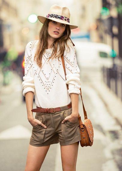 Linen cotton-blend shorts