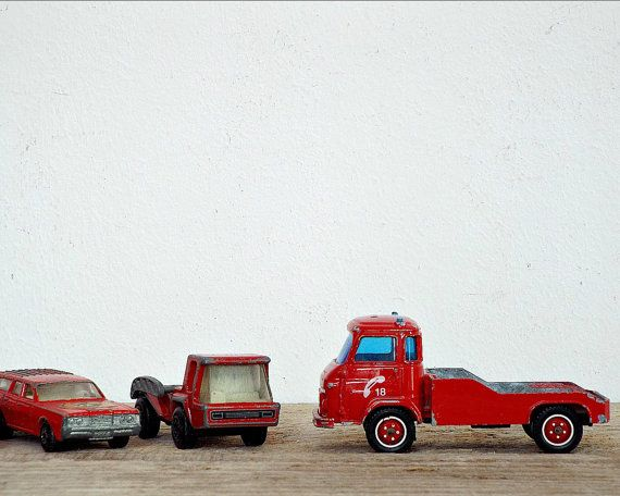 COLLECTION 5 RED CARS - vintage 5 mini toys, boys toy, dinky car, kids toys, miniatures, firetruck