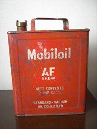 Vintage Mobiloil 2 gallon Motor Oil Can