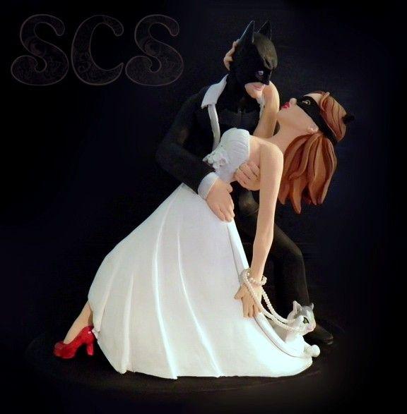 Custom Wedding Cake Toppers Batman and Catwoman. Order your custom wedding cake topper today!