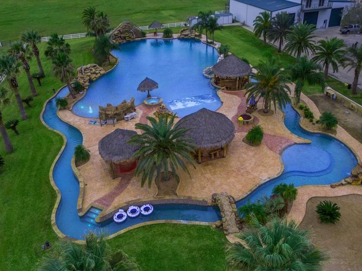 This home in rural Texas boasts the world's largest residential swimming pool, along with a 500 foot lazy river.   http://www.estately.com/listings/info/557-county-road-451--1