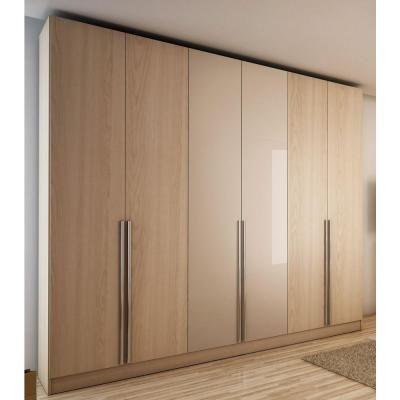 Manhattan Comfort Eldridge 6-Door Wardrobe in Oak Vanilla Pro-Touch/Metallic Nude-34163 - The Home Depot