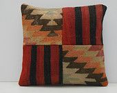 patchwork throw pillow 16x16 DECOLIC primitive pillow aztec cushion large sofa throw pillow handmade cushion cover 15469 kilim pillow 40x40