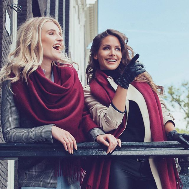 #Happy #girls @marithiedema & @nathaliedendekker   for #onlineshop @inez_cashmere #100% #cashmere #scarf #inezboutique #inez #Amsterdam #luxurylifestyle #luxuryfashion .  #styling @elzemieke.tijl  #makeup #hairstyling @lotteconcepts  #production #verastegerman  #assist @jellehelwig  #photo @rondewildt #2016