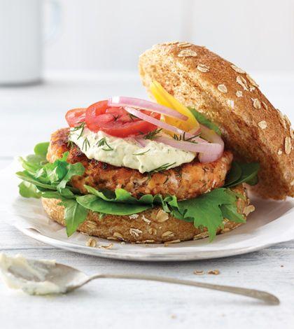 Smoked Salmon Burger with Lemon Aioli