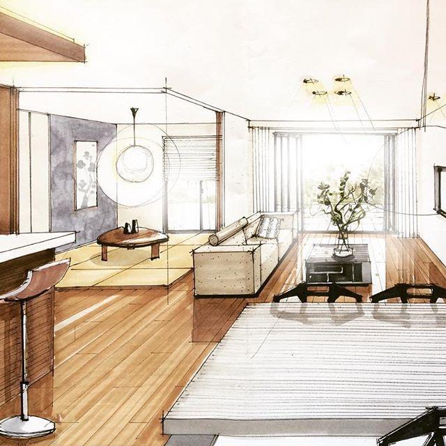 床の色変えました。 でもまだ明るすぎだね💦 和室とリビングのつながり、広がり感を、というテーマでございました🙌🏼 . #内観パース#建築パース#手描きパース #LDK #和室 #コーブ照明  #archisketcher #arch_more #artarchworks #eilersensofa #eilersen #pentohouselivingtable #chairone
