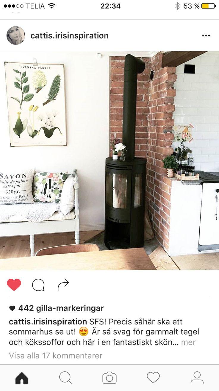 12 best kamin images on Pinterest | Fire, Small wood burning stove ... : vattenmantlad kakelugn : Inredning