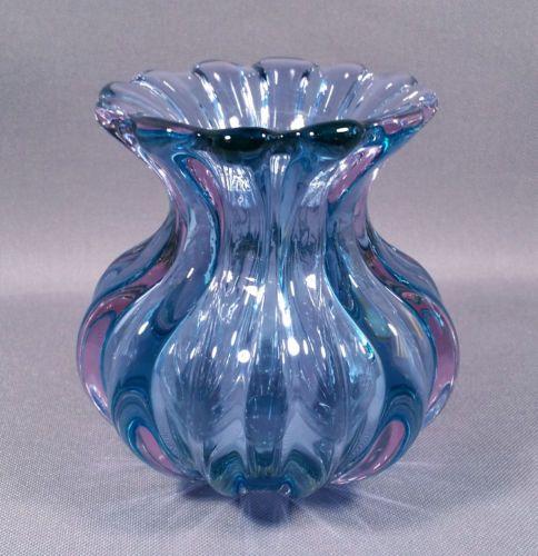 Vintage Italian Glass Vase Alfredo Barbini Blue Glass Vase Glass Art