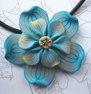 Polmer clay flower pendant | Flickr - Photo Sharing!