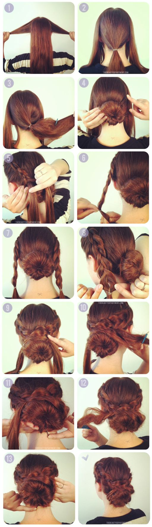 2 inside out french braids + 1 bun. Step by step tutorial on thebeautydepartment.com