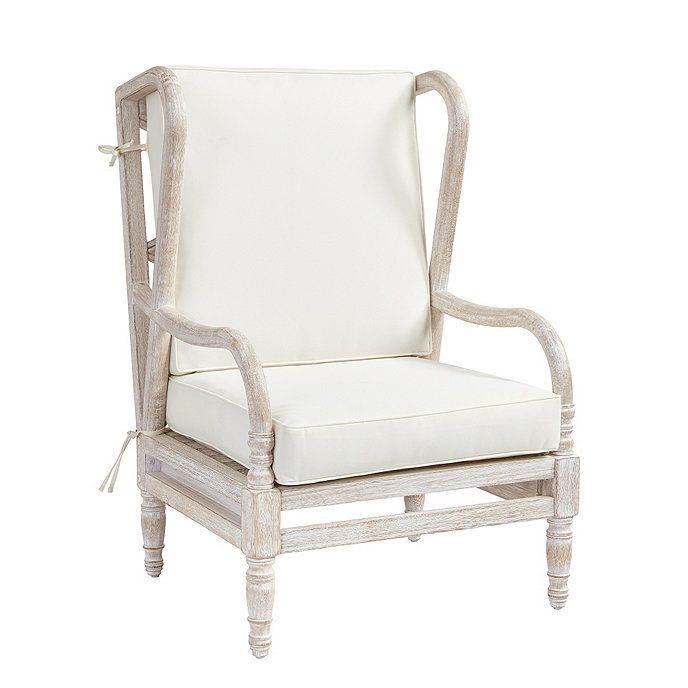 Ceylon Whitewash Wingback Occasional Chair with Cushions   – Chairs