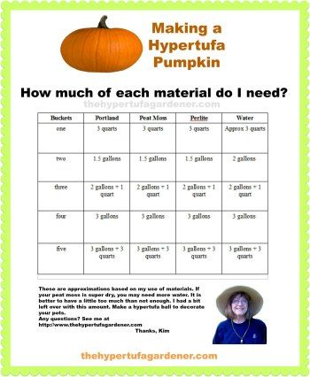 How to make hypertufa pumpkins – What about the amounts to use?! I have made a printable document with the amount of material you would need based on the amount of pumpkins buckets you would use...