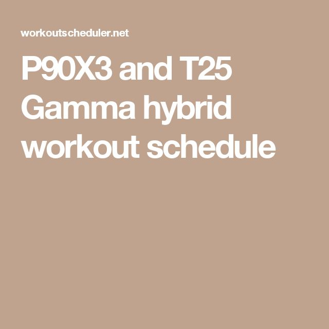 P90X3 and T25 Gamma hybrid workout schedule