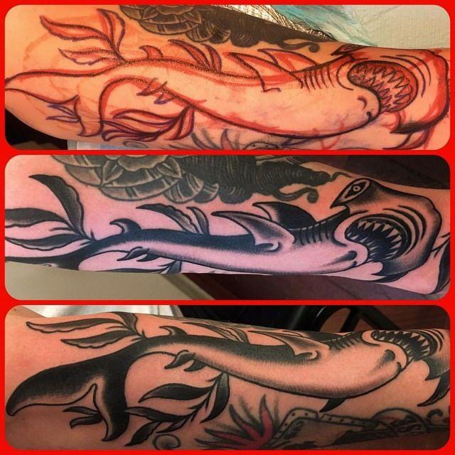 Sharpie space-filler hammerhead for Chase. Thanks as always dude! #shark #idlehandsf #hammerhead #matthowse #traditional #traditionaltattoo #traditionaltattoos #ocean #jaws #sharkattack #sanfrancisco #beer #sushi