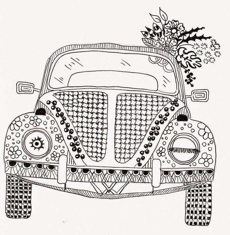 Efie Goes Zentangle Ben Kwok Volkswagen Adult Coloring PagesColoring