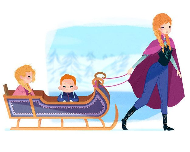 Anna feels like she is always in the sled, carting her kids around town to ice harvesting class, magic lessons with the troll king, and play dates with Olaf's many snow kids.
