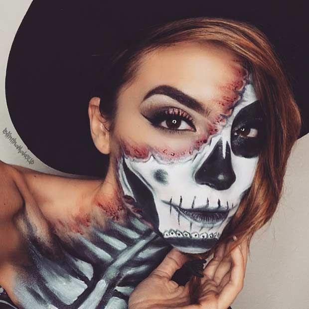 Bloody Half Face Skeleton Makeup Idea for Halloween