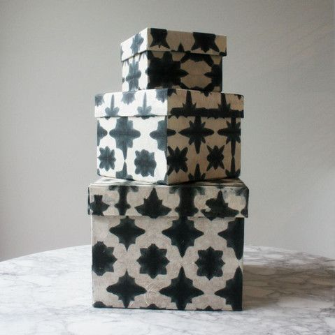 blue and white cardboard storage boxes