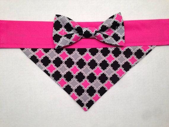 Dog Bandana  Pink and Black Argyle/Damask Print by SpottedDogShop, $9.95