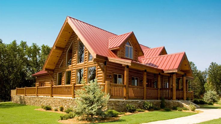 log home with wrap around porch