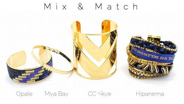 Mix & Match www.lilishopping avec une manchette Yuma Opale, un bracelet plaqué or gravé Mya Bay, la manchette chevrons CC SKye et le bracelet Saphir Hipanema