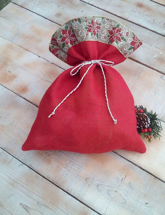 Christmas Burlap Bags  Red Christmas Burlap by AJRUSTICCREATIONS
