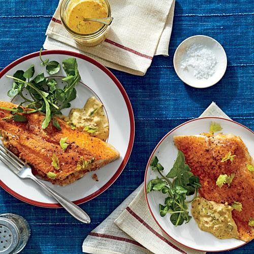 "Crab-Stuffed Catfish Fillets with Cajun Rémoulade  Chef Rusty Hamlin feeds the Zac Brown Band members and their fans at big, casual ""Eat and Greet"" suppers when the band is touring. Here's one of Rusty's favorite dishes, which he serves with Cajun Rémoulade and grits."