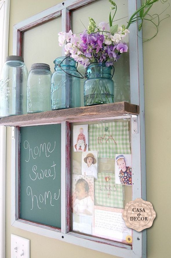 reuse windows and doors - this is a great message center for kitchen, mudroom, or laundry room.