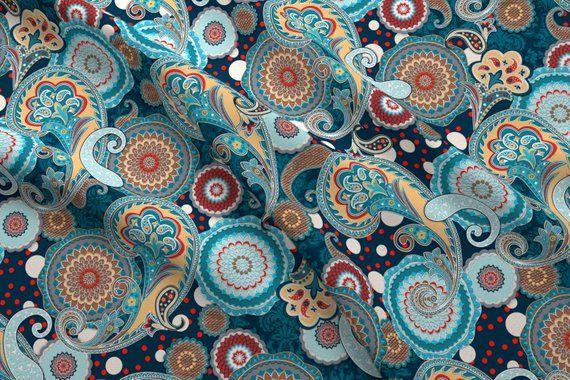 Paisley Mandala Fabric Poly Chiffon Performance Knit Crepe Satin
