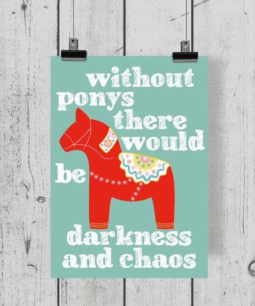 Dalarnapferd A4 Poster mit Typo Druck // artprint, typography, pony by dhc creative via DaWanda.com