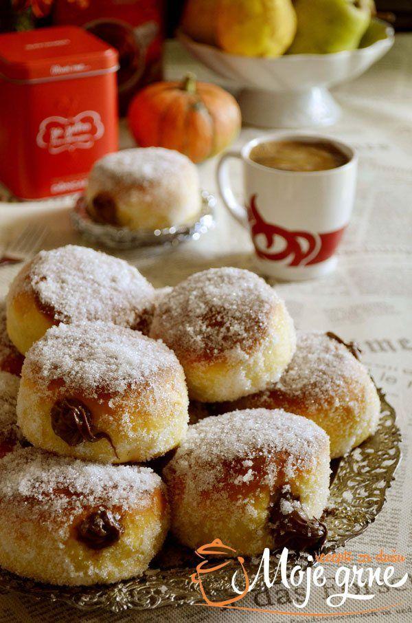 Krofne Iz Rerne Punjene Nutellom Baking Recipes Food Garnishes Dessert Recipes