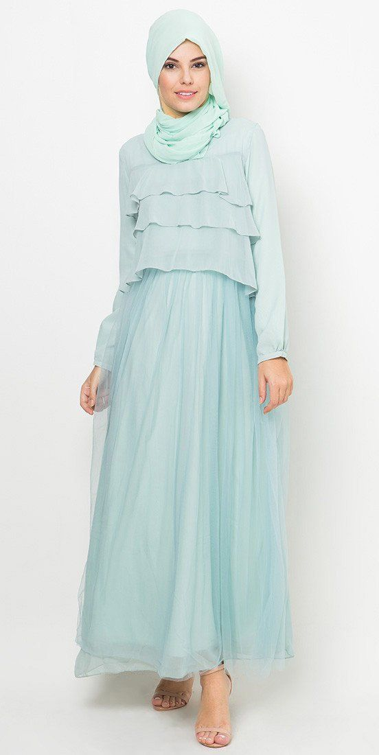 Tulle Chest Stack Dress by Tahlia. Dress with layering details, the blue tulle fabric drape beautifully, round neck, long sleeves, back zipper, A soft touch for your look, perfect dress for you who love feminine style.  http://www.zocko.com/z/JGCGk