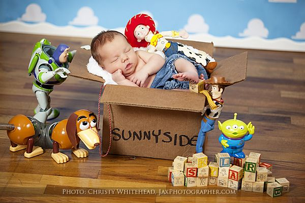 Disney and Pixar Toy Story theme available in our studio. Pregnancy and newborn photographer in North Florida: Jacksonville, St. Augustine, Macclenny, Baldwin, Amelia Island  www.ChristyWhiteheadPhotography.com