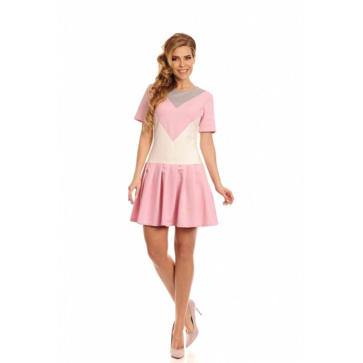 Lemoniade Fantasia szary-pudrowy róż-ekri sukienka - Sklep Dotti.pl