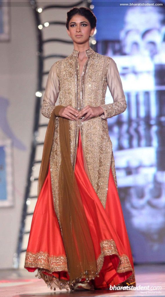 Orange and cream lengha. Manish Malhotra Fashion Show for 'Save & Empower Girl Child'