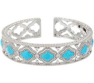 Judith Ripka Sterling Silver Diamonique & Turquoise Cuff Bracelet