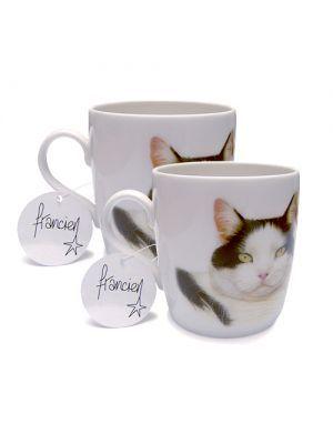 Set van 2 mokken TABBY CAT BONE van Francien van Westering. Verkrijgbaar in de webshop https://www.francienskattenshop.com/servies.html