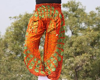Boho strenchy harem pants , beach wear ,floral harem baggy trousers,trendy casual wear pants IN1238  100% handmade at home  Free size pants Waist : streches out from 24 to 36 inches easily  length : approximately 40 inches