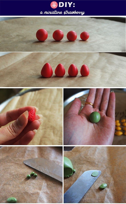 ice pandora: DIY: miniature strawberries http://icepandora.blogspot.com/2013/05/diy-miniature-strawberries.html