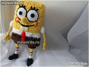 Игрушка Спанч Боб (Sponge Bob). Авторский Губка Боб handmade. Вязание крючком и спицами.