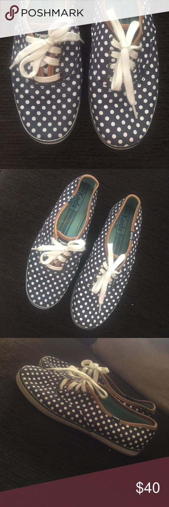 KEDS tennis shoes Used, but great condition, navy blue with white polka dots, only worn a few times Keds Shoes Sneakers