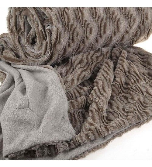 SYNTHETIC FUR THROW  IN GOLD_BEIGE COLOR 150X180